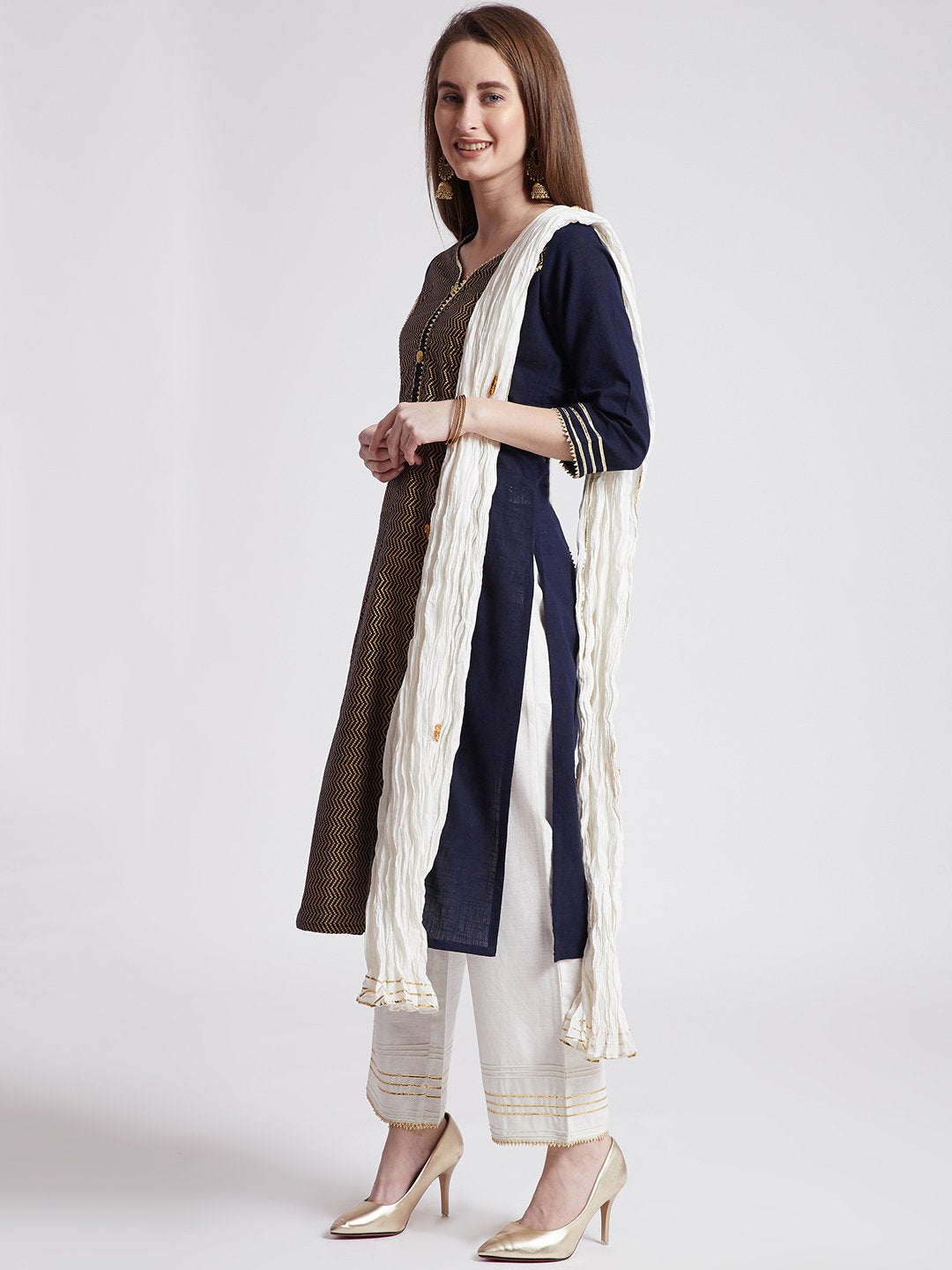 Indian ethnic long kurta in navy blue colour with pants & stole with gota detailing