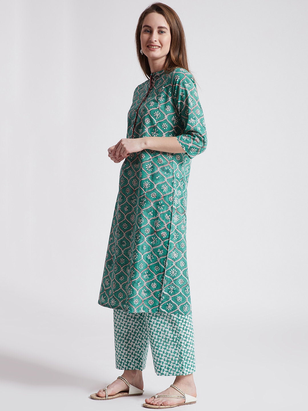 Hand block printed long kurta with hand block printed pants