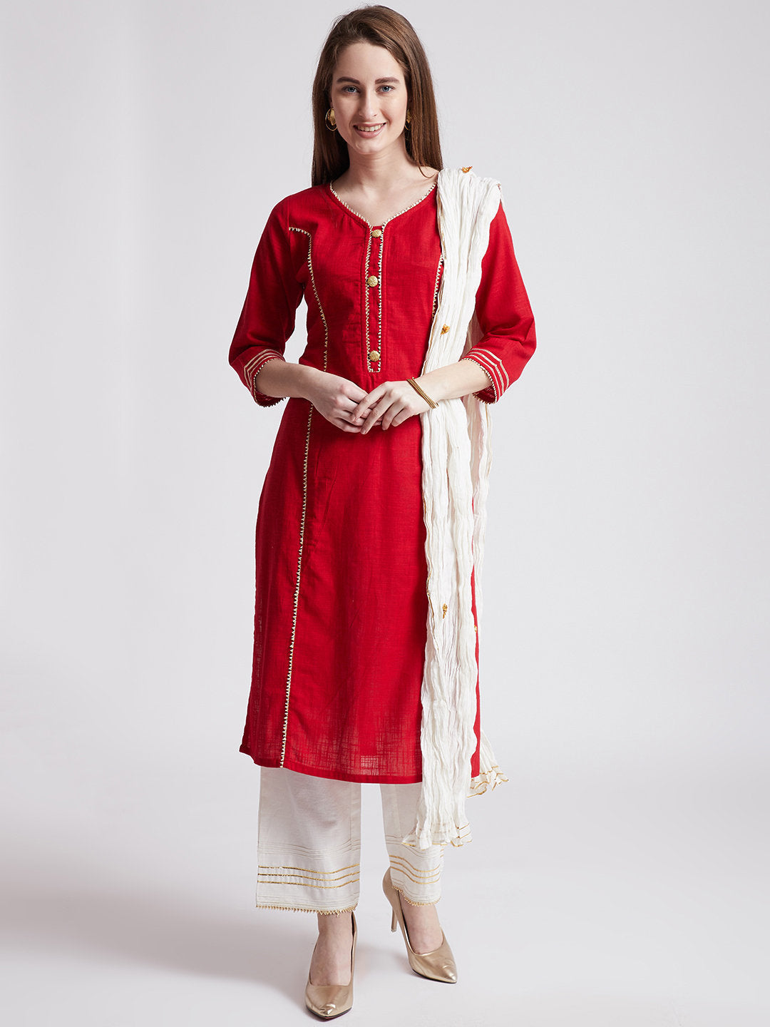 Indian ethnic long kurta in red colour with pants & stole with gota detailing