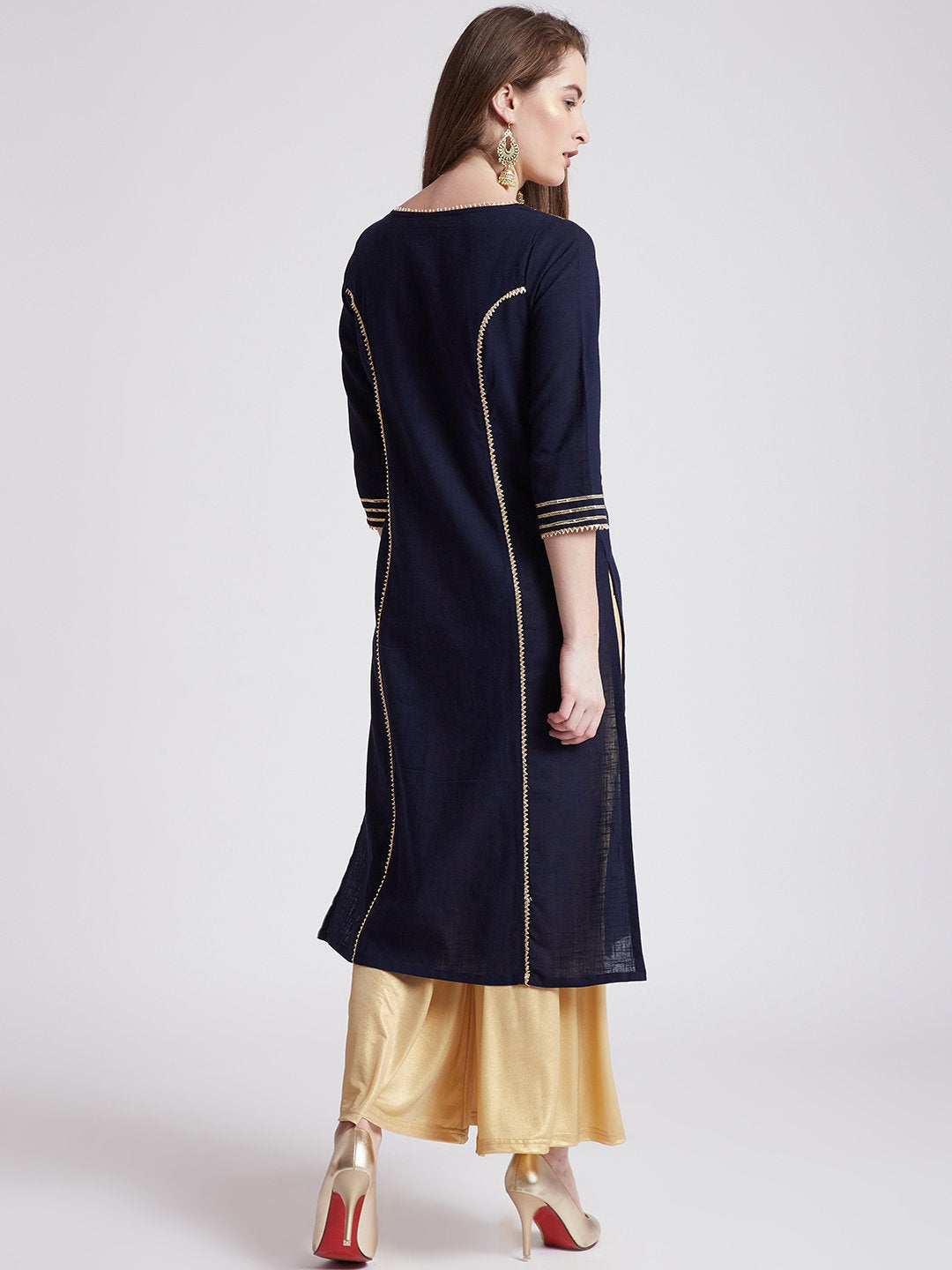 Indian ethnic long kurta in navy blue colour with gota detailing