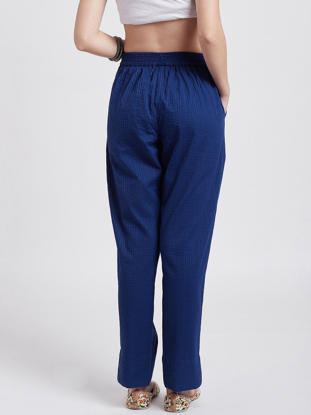 Self embroided cotton blue straight pants