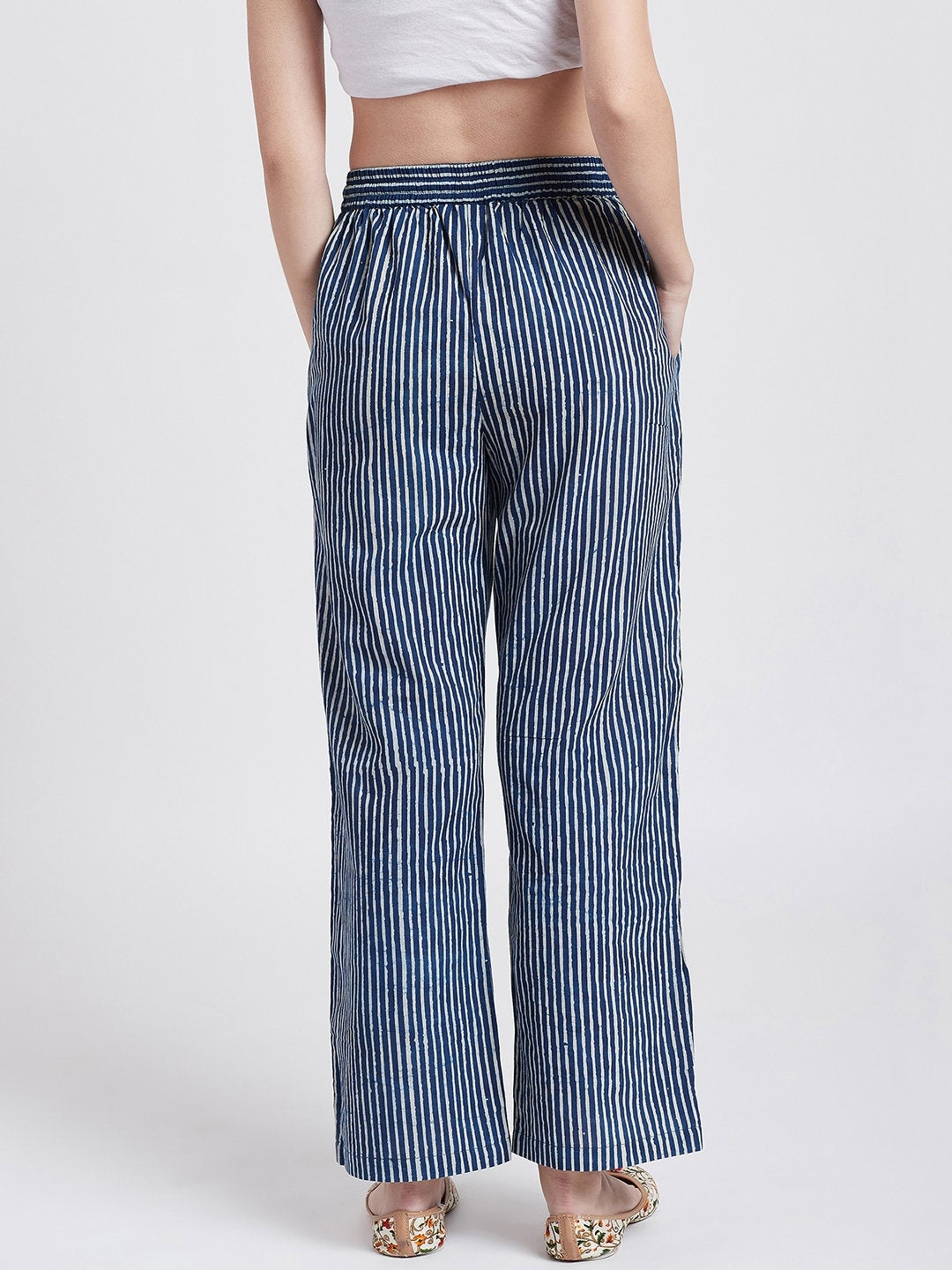 Indigo hand block cotton printed straight pants with pockets