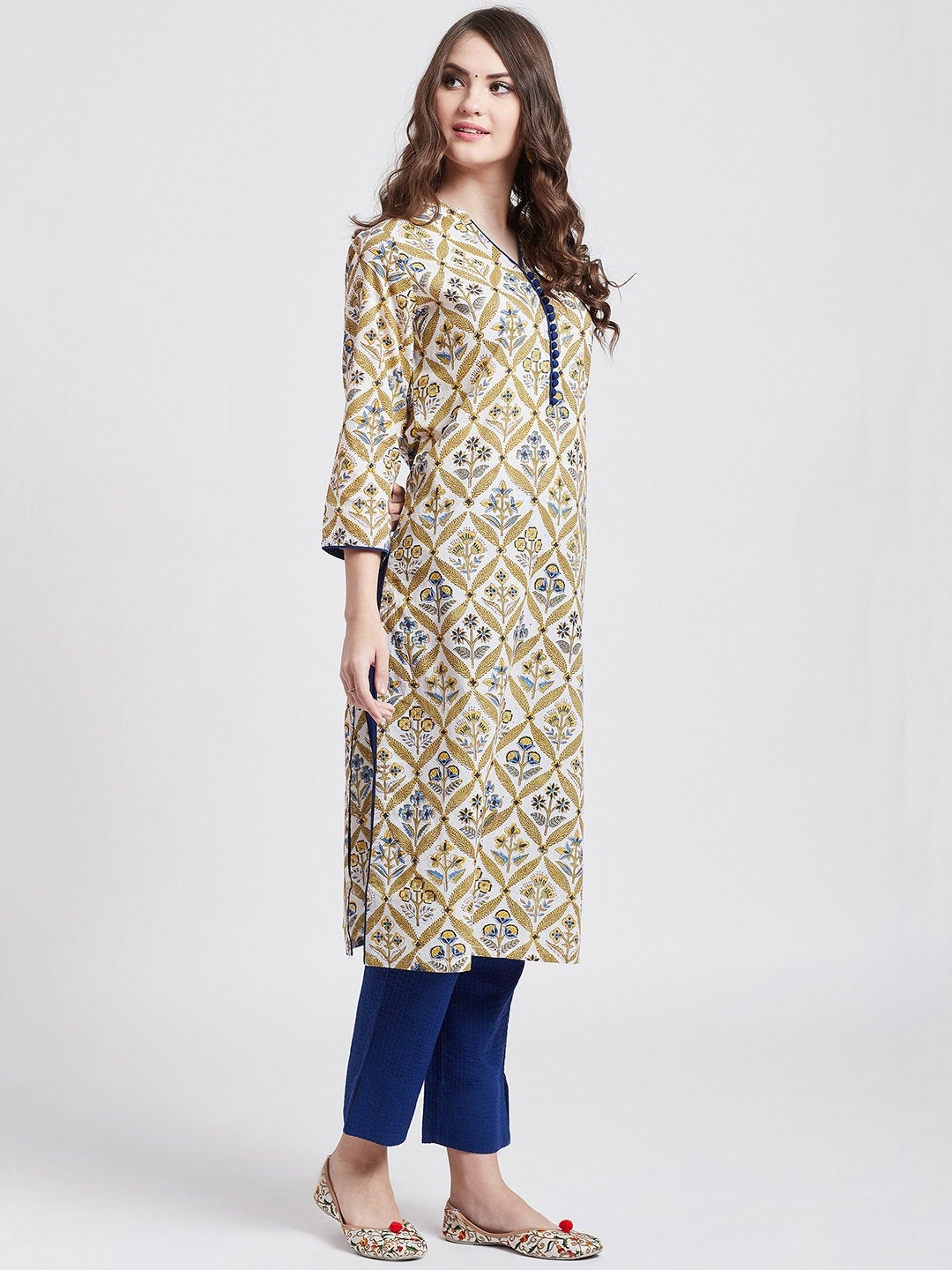 Hand block printed white kurta with self embroided blue cotton straight pants