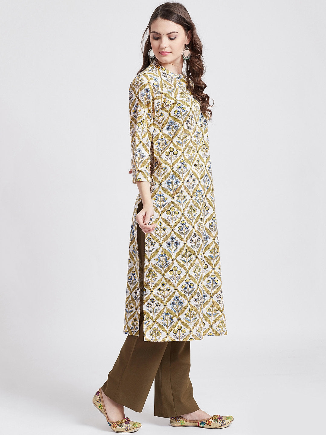 Hand block printed ethnic long Indian kurta with front button placket