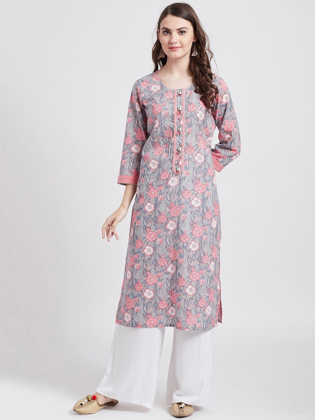 Indian ethnic gray long kurta with gota detailing