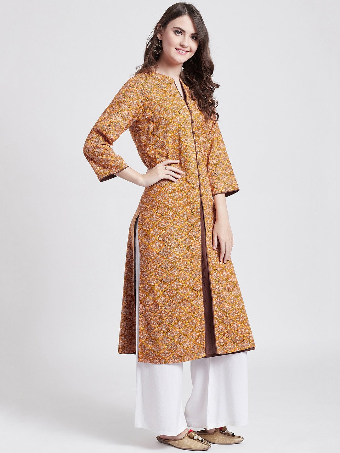 Hand block printed Indian ethnic long kurta in mustard colour