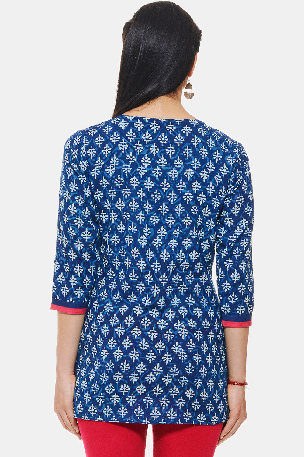 Indigo Hand block printed Ethnic Indian Tunic/ Kurti
