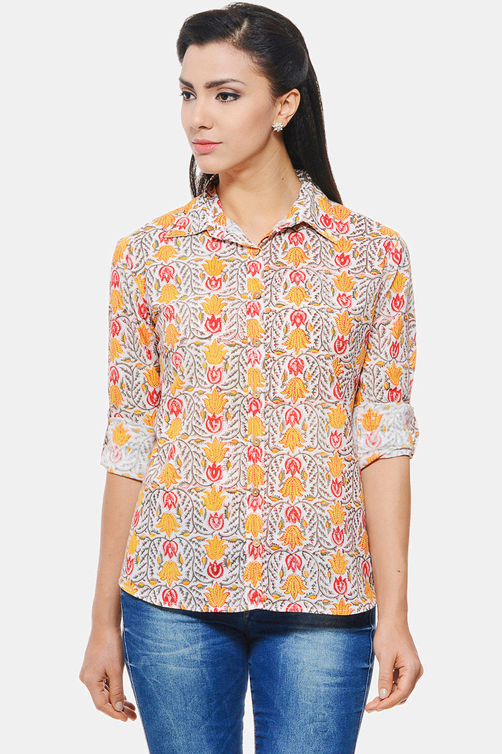 Hand block printed Shirt with yellow and red floral design
