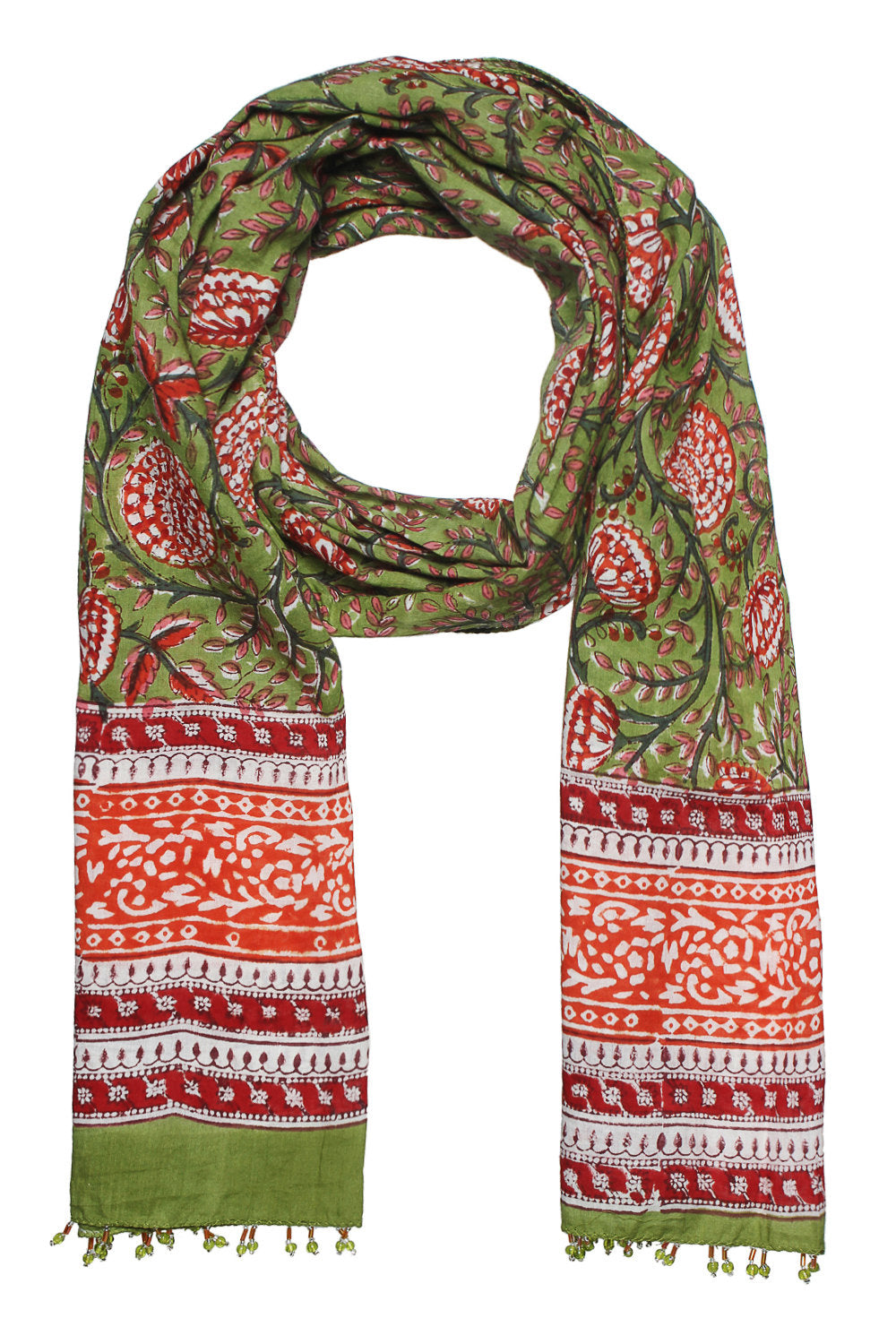 Hand block printed women scarf in vibrant green and sunset orange colour with beads border