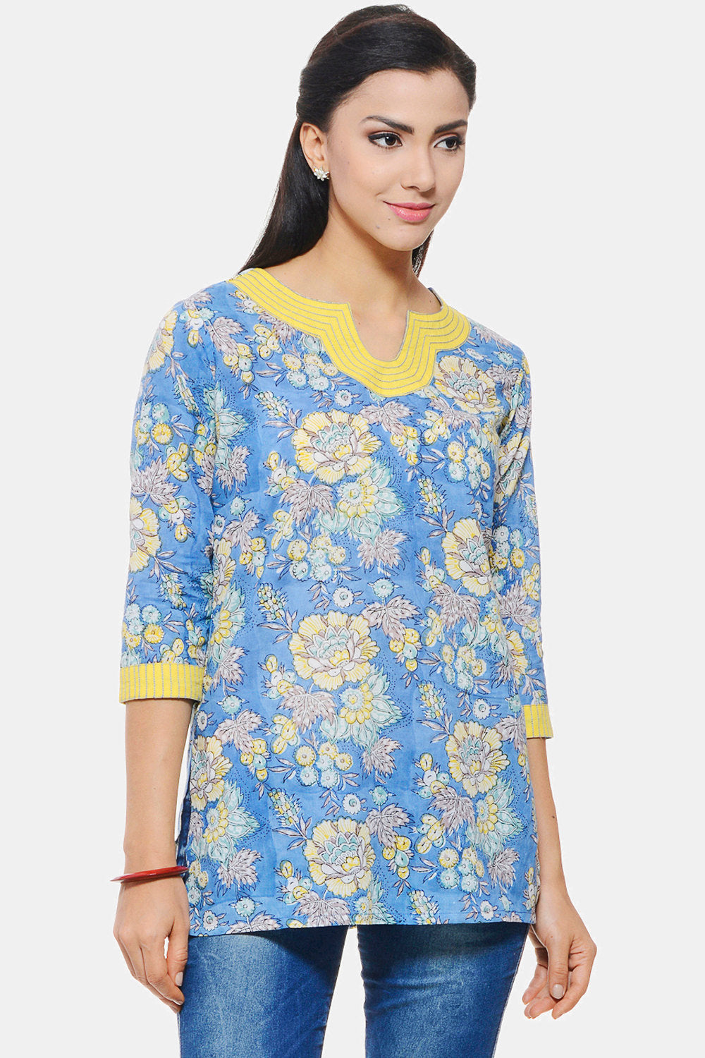 Hand Block Printed Indian Tunic in blue floral design with Embroidery on neck and sleeves