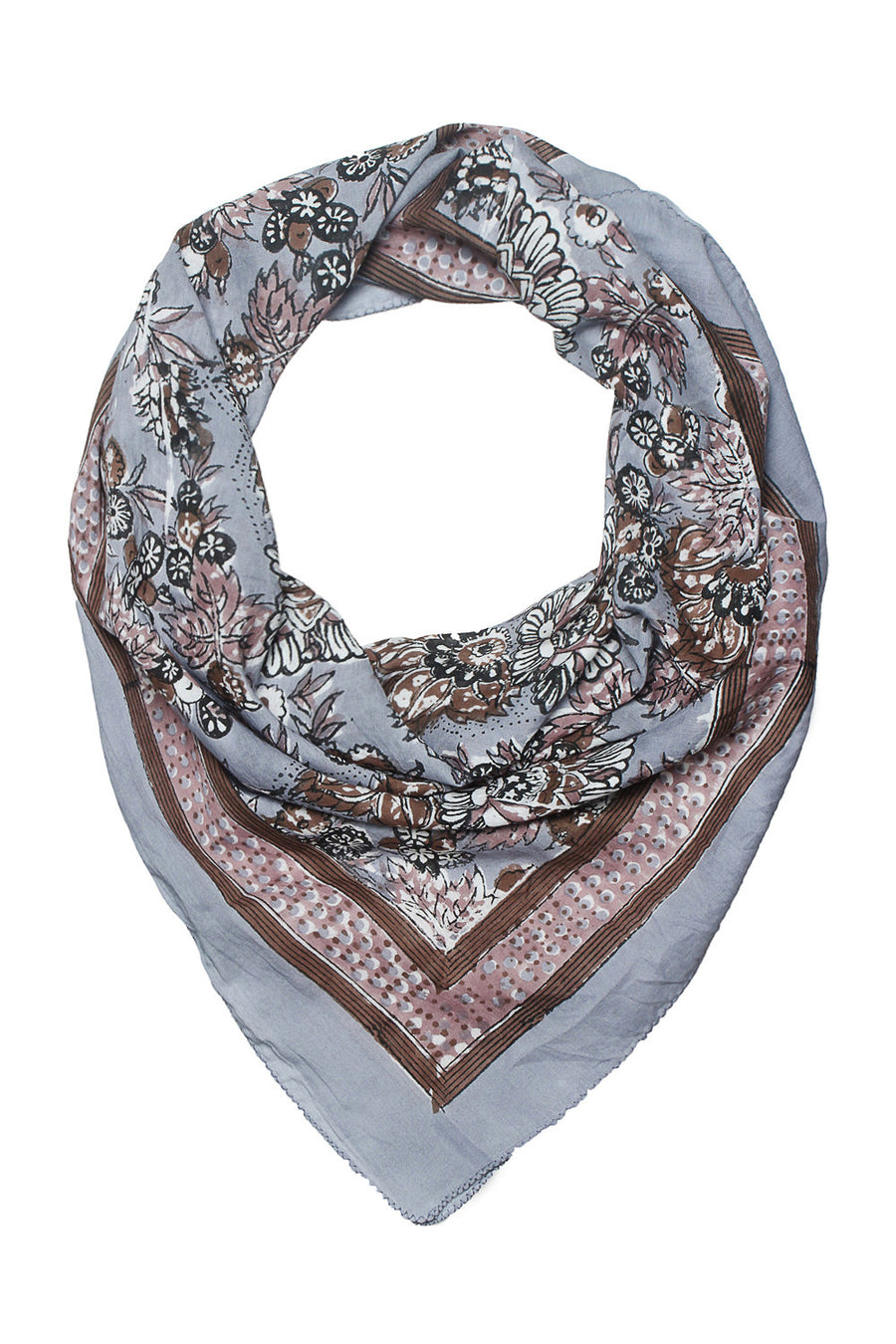 Soft cotton hand block printed scarf in grey color