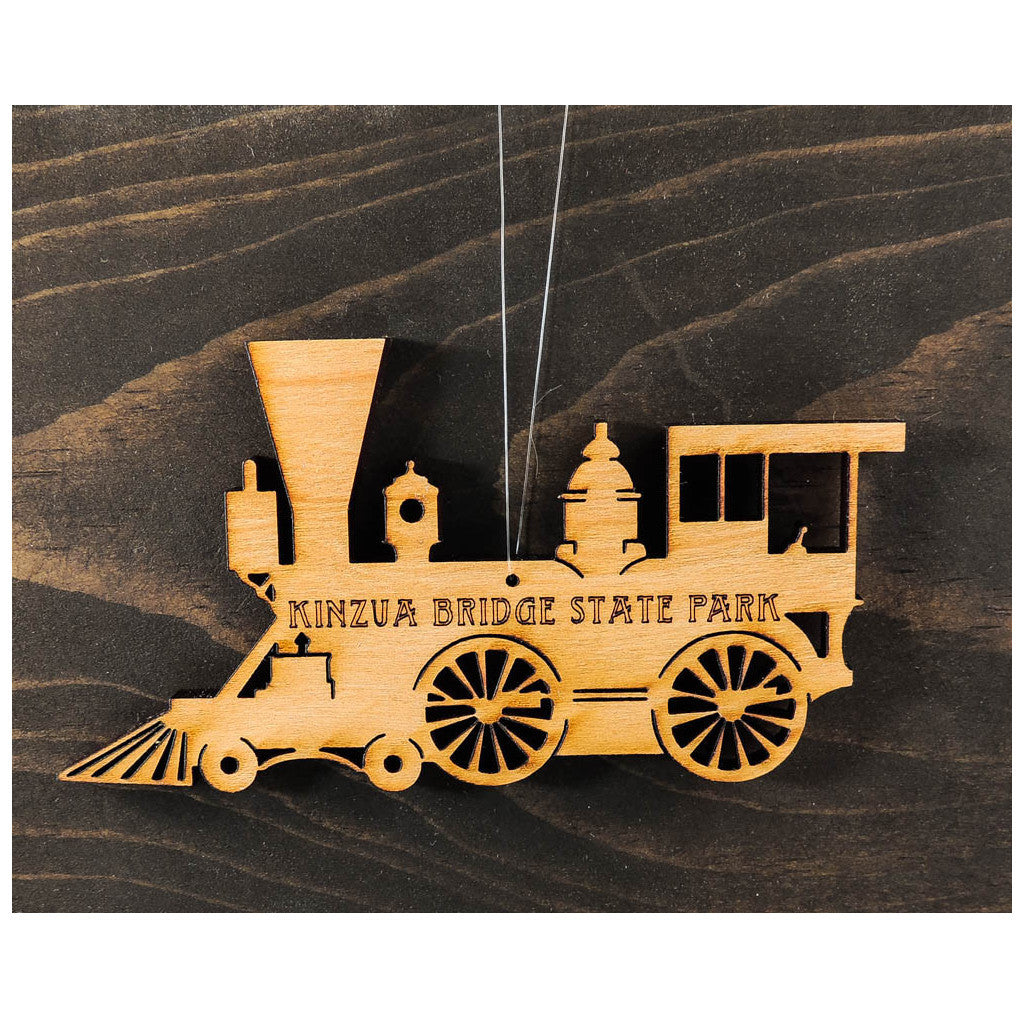Engraved Wooden Train Ornament