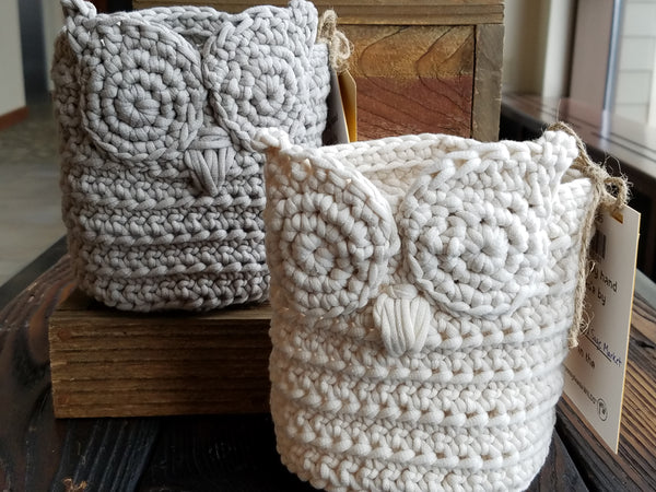 Crocheted Owl Basket