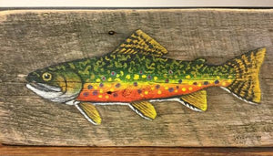 Reclaimed barn wood painting - Fish