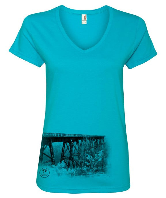PA Wilds V-Neck Bridge Photo Short Sleeve Ladies Tee