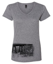Load image into Gallery viewer, PA Wilds V-Neck Bridge Photo Short Sleeve Ladies Tee