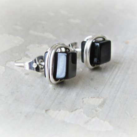 Black Onyx Cube and Sterling Silver Stud Earrings