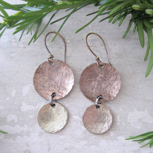 Hammered and Domed Patina Brass Dangle Earrings
