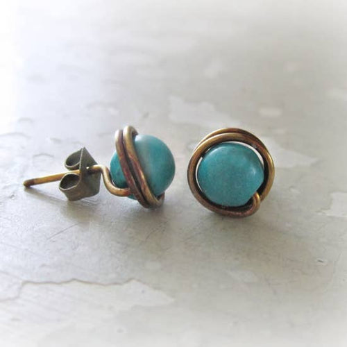 Patina Brass and Turquoise Stud Earrings