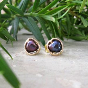 Peacock Freshwater Pearls and Gold Stud Earrings
