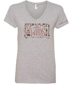 The Wilds Are Calling Ladies V-Neck Short Sleeve Shirt