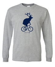 Load image into Gallery viewer, Adult Elk on a Bike Long Sleeve T-Shirt