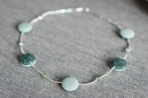 "Reversible necklace: Jade Green+""Long Life"" Chinese Character"