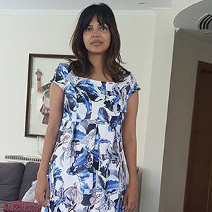 Happy Smart Mum In Simply Happy Blue Flowers Dress 2