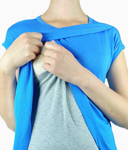Ultra Comfy Modern Blue Top - Short Sleeves in Nursing - Tops - SmartMother.me - 2