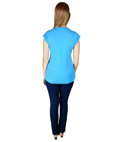Ultra Comfy Modern Blue Top - Short Sleeves in Maternity - Tops in Maternity - SmartMother.me - 2
