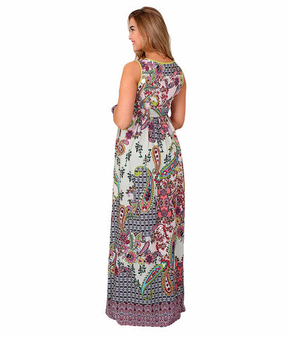Flowers & Paisley Print Long Dress in Maternity - Dresses in Maternity - SmartMother.me - 2
