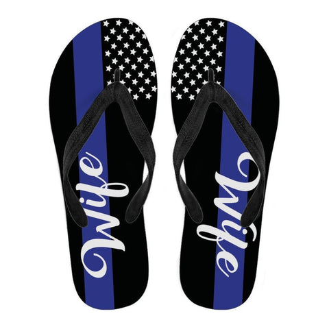 Thin Blue Line American Flag Police Mom Or Wife Flip Flops