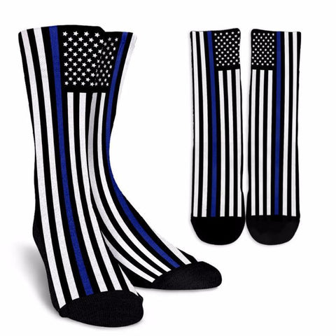 Thin Blue Line American Flag Police Dress Socks