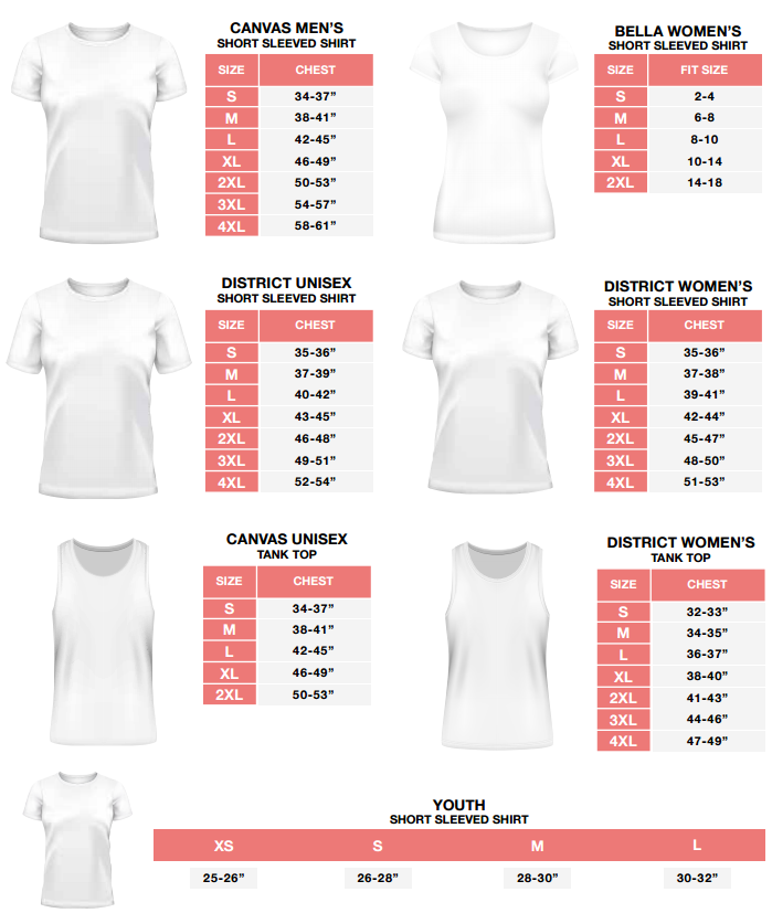 Teelaunch Sizing Chart