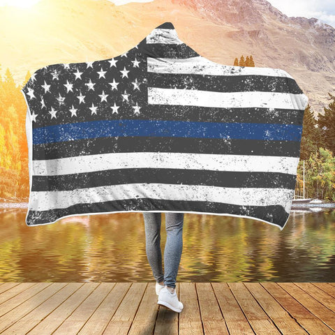 Thin Blue Line American Flag Police Hooded Blanket