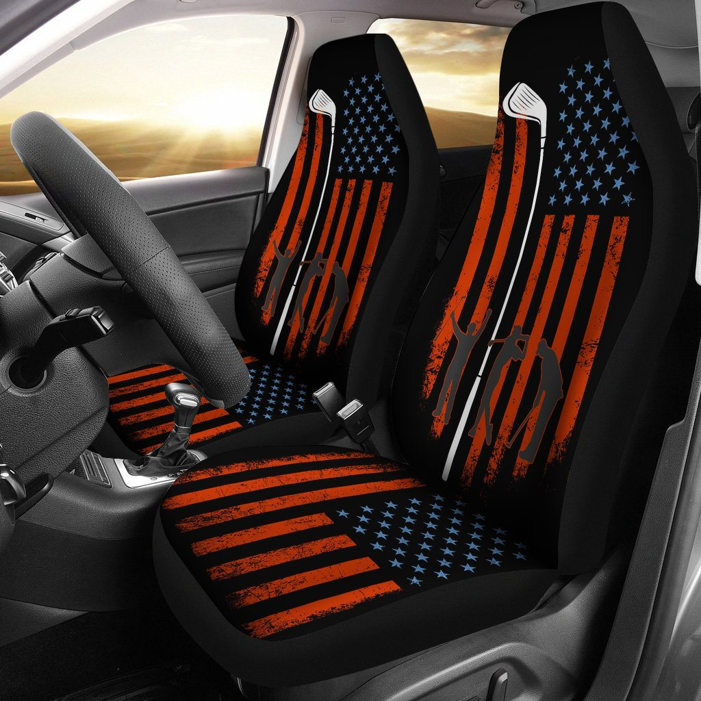 American Flag With Golf Club Universal Fit Car Seat Covers - Snappy Creations
