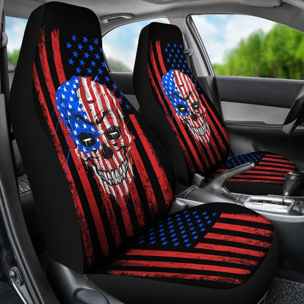 American Flag With Skull Universal Fit Car Seat Covers - Snappy Creations