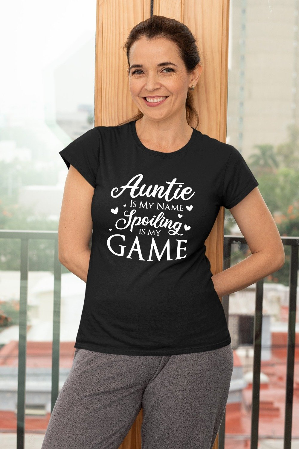 Auntie Is My Name Spoiling Is My Game Funny Aunt T-Shirt
