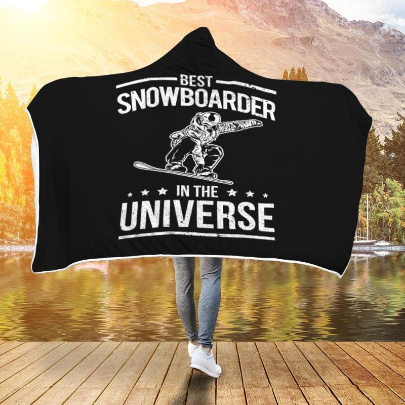 Best Snowboarder In The Universe Funny Snowboard Hooded Blanket