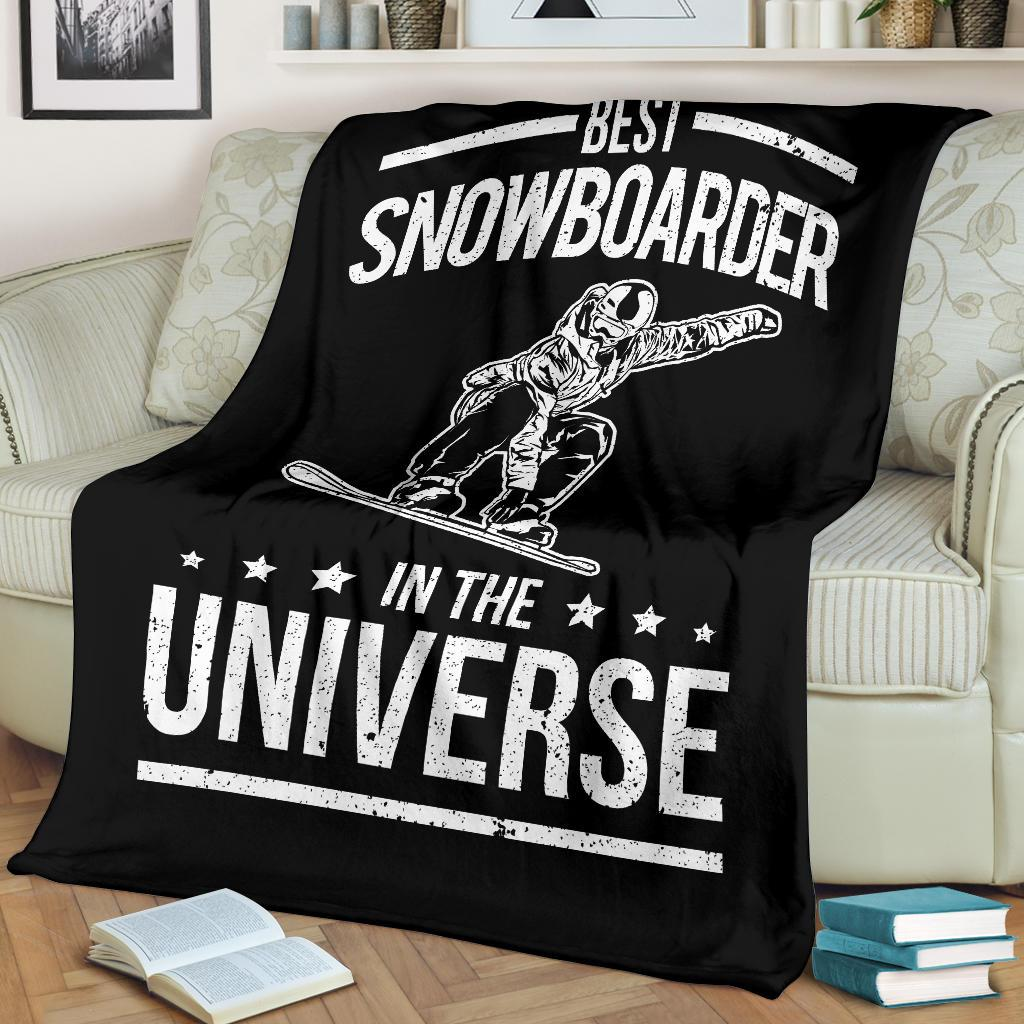 Best Snowboarder In The Universe Funny Snowboard Premium Blanket