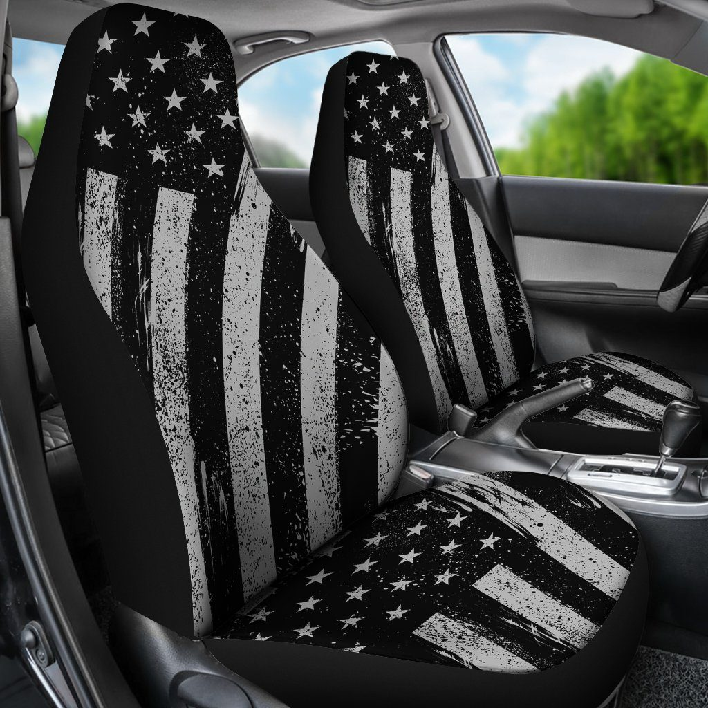 Black And White American Flag Universal Fit  Car Seat Covers - Snappy Creations