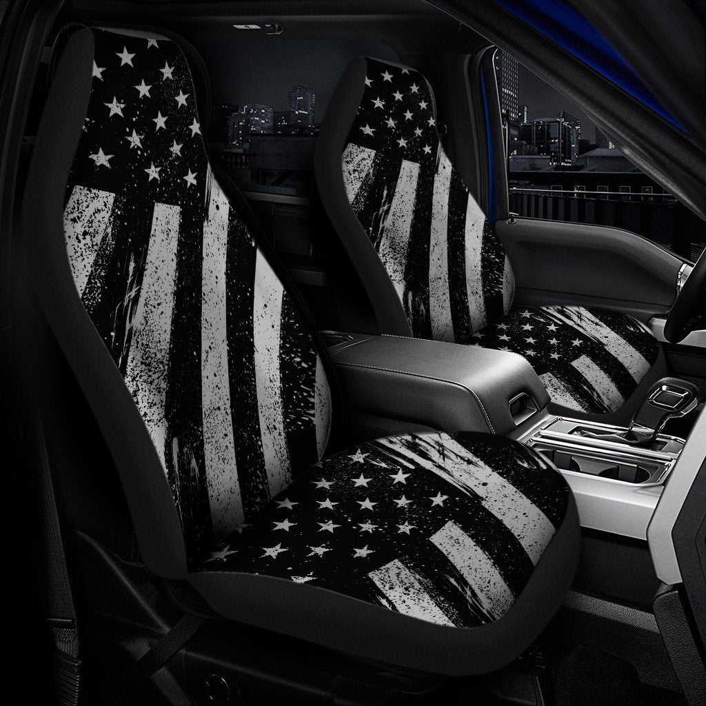 Black And White American Flag Universal Fit Car Seat Covers