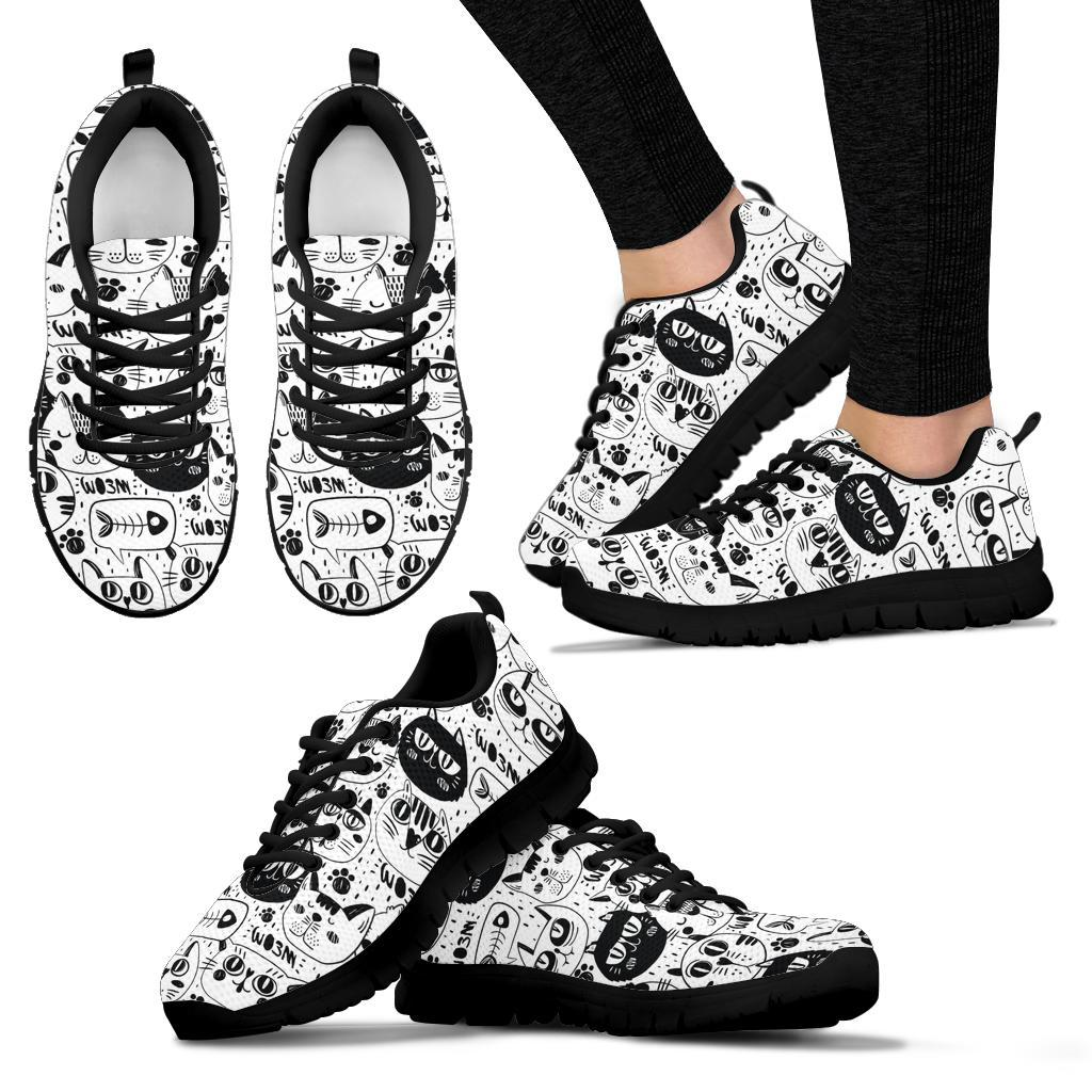 Black And White Cat Faces Adult & Kids Size Sneakers - Snappy Creations