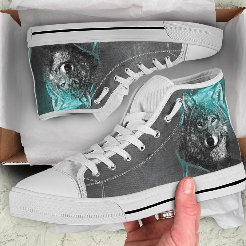 Blue And Grey Wolf Men And Women High Top Canvas Shoes - Snappy Creations