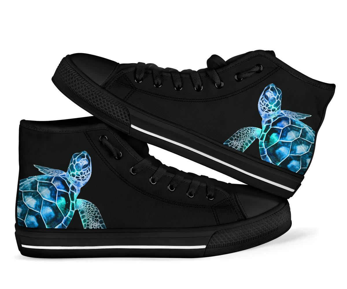Blue Green Sea Turtle Women's High Top Shoes - Snappy Creations