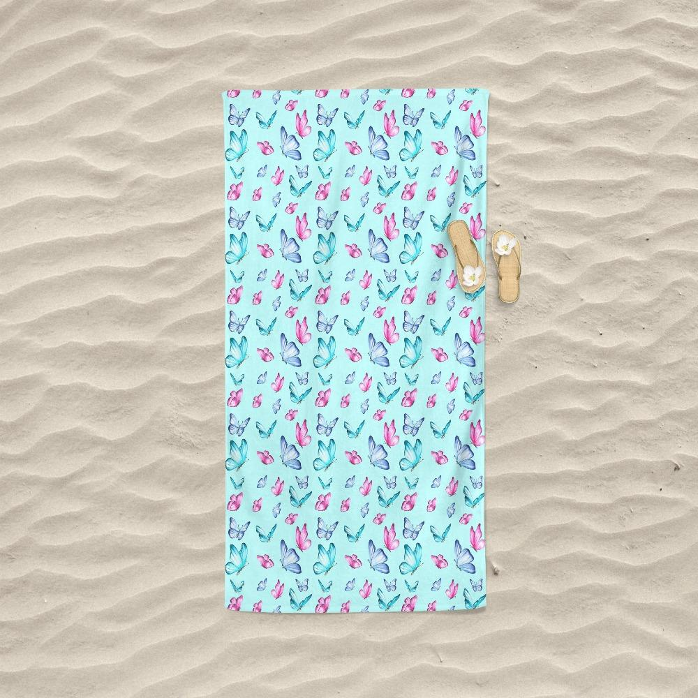 Butterfly Pattern Water Paint Print Beach Towel - Snappy Creations
