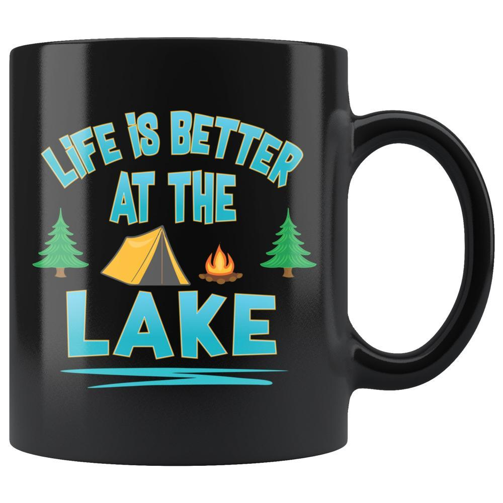 Life Is Better At The Lake Camping Black Coffee Mug - Snappy Creations