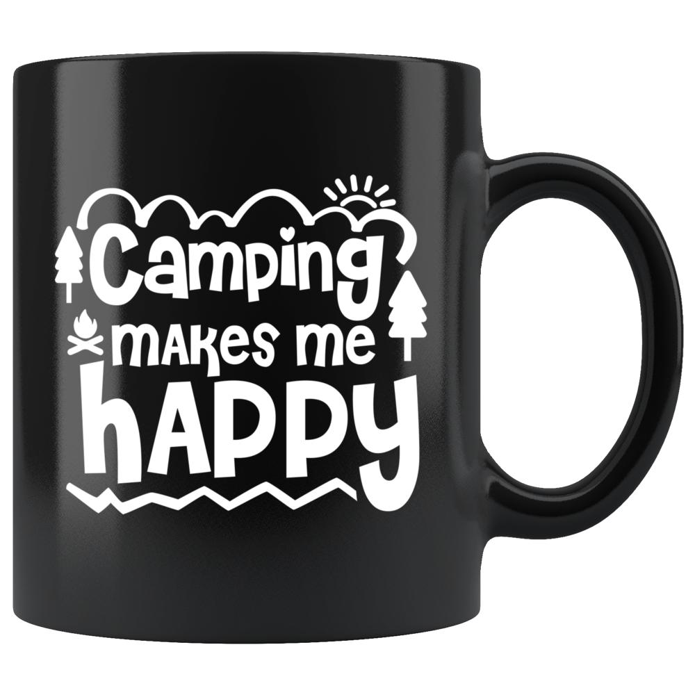 Camping Makes Me Happy Black Coffee Mug - Snappy Creations
