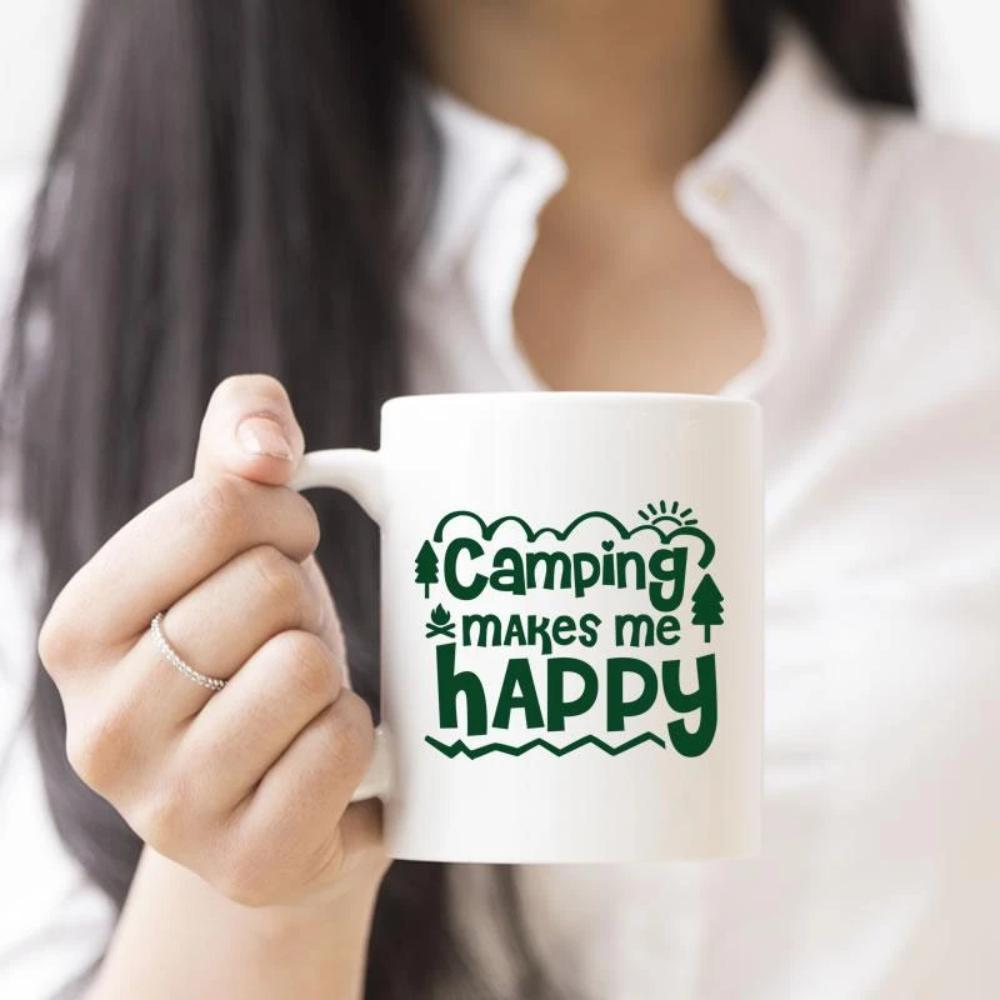 Camping Makes Me Happy White Coffee Mug - Snappy Creations