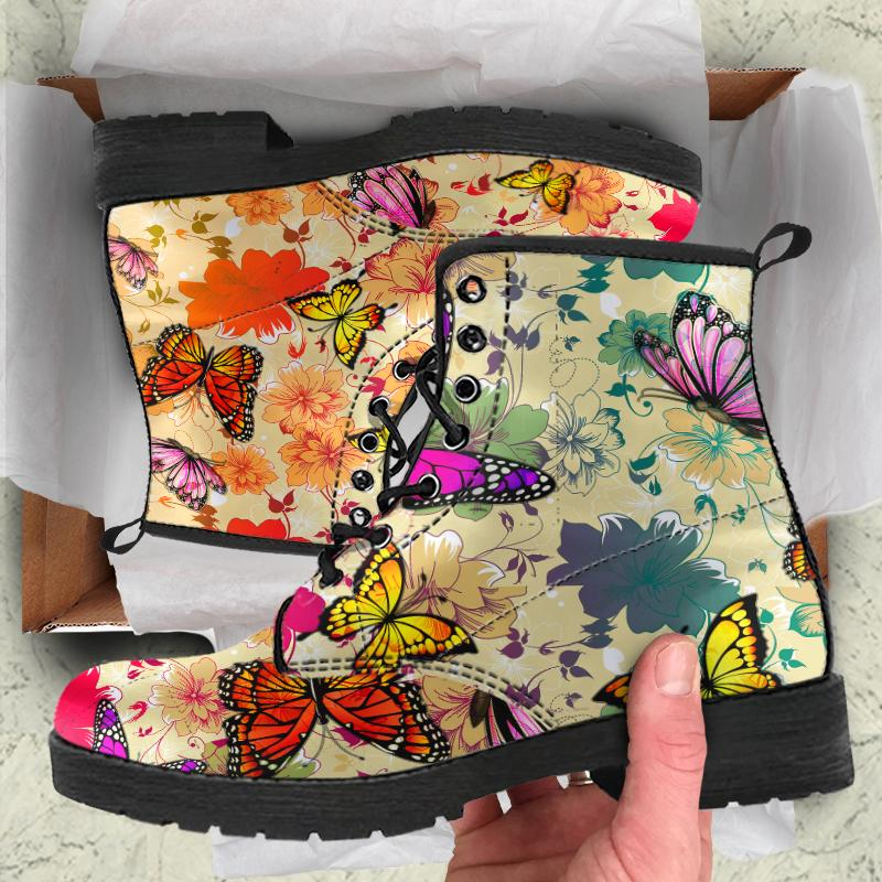 Colorful Butterflies And Flowers Women's Leather Boots - Snappy Creations
